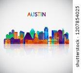 austin skyline silhouette in...   Shutterstock .eps vector #1207854025