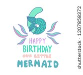number six with mermaid tail... | Shutterstock .eps vector #1207858372