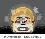 halloween costume kids. in car... | Shutterstock .eps vector #1207884832