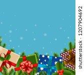 christmas retro card  | Shutterstock . vector #1207904692