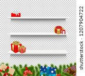 shelves with christmas gift box ... | Shutterstock . vector #1207904722