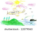 child's bright drawing  voyage... | Shutterstock . vector #12079063