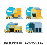 delivery service with warehouse ... | Shutterstock .eps vector #1207907512