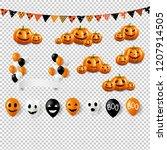 big halloween set with balloons ... | Shutterstock . vector #1207914505