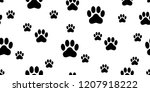 dog paw seamless pattern vector ... | Shutterstock .eps vector #1207918222