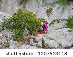 young woman climbing a cliff... | Shutterstock . vector #1207923118