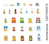 big set of different food ... | Shutterstock .eps vector #1207934575
