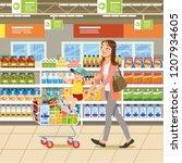 family shopping cartoon vector... | Shutterstock .eps vector #1207934605