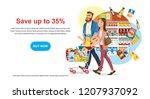 saving money offer on shop sale ... | Shutterstock .eps vector #1207937092