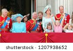 Small photo of Prince Charles & Queen Elizabeth, London uk - 9/6/2019: Meghan Markle Prince Charles,Harry Andrew George William Kate Middleton & Princess Charlotte Trooping the colour Buckingham Palace stock photo
