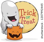 cute ghost with a smiling candy ... | Shutterstock .eps vector #1207992445
