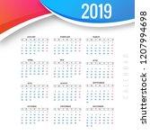 abstract calendar colorful 2019 ... | Shutterstock .eps vector #1207994698
