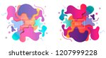 puzzle style liquid shapes... | Shutterstock .eps vector #1207999228