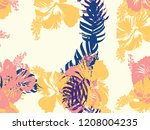 tropical background. green ... | Shutterstock .eps vector #1208004235