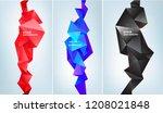 vector set of abstract facet 3d ... | Shutterstock .eps vector #1208021848