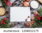 christmas recipe menu concept.... | Shutterstock . vector #1208022175