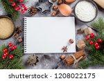 christmas recipe menu concept.... | Shutterstock . vector #1208022175
