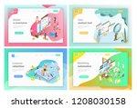 isometric landing page headers... | Shutterstock . vector #1208030158