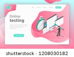 isometric flat landing page... | Shutterstock . vector #1208030182