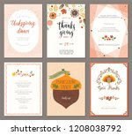 thanksgiving greeting cards and ... | Shutterstock .eps vector #1208038792