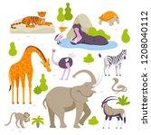 wild animals in the zoo set of... | Shutterstock .eps vector #1208040112