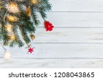 christmas fir tree branches on... | Shutterstock . vector #1208043865