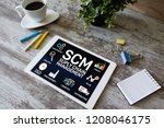 Small photo of SCM - Supply Chain Management and business strategy concept on the screen.