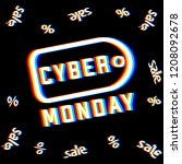label with title cyber monday.... | Shutterstock .eps vector #1208092678