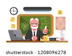 chemistry teacher in classroom... | Shutterstock .eps vector #1208096278
