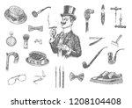 victorian era collection ... | Shutterstock .eps vector #1208104408