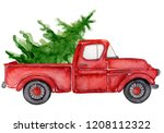 red christmas truck with pine... | Shutterstock . vector #1208112322