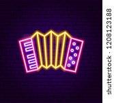 accordion neon sign. vector... | Shutterstock .eps vector #1208123188