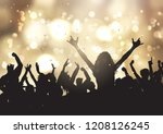 silhouettes of party people on... | Shutterstock .eps vector #1208126245