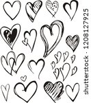 heart icons set  hand drawn... | Shutterstock .eps vector #1208127925