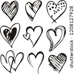 heart icons set  hand drawn... | Shutterstock .eps vector #1208127928