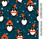 seamless pattern  penguins in... | Shutterstock .eps vector #1208136145