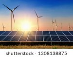 solar panel with turbine and... | Shutterstock . vector #1208138875
