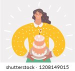 happy mother holding a first... | Shutterstock .eps vector #1208149015