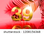 gold isolated number 39 on red... | Shutterstock . vector #1208156368
