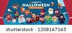 vintage halloween poster design ...   Shutterstock .eps vector #1208167165