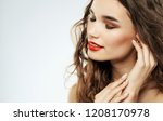 beautiful woman with red... | Shutterstock . vector #1208170978