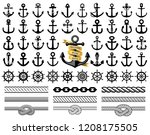 set of anchors  rudders icons ... | Shutterstock .eps vector #1208175505
