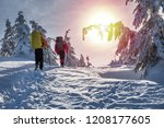 winter hiking. tourists are... | Shutterstock . vector #1208177605