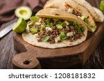 homemade minced beef tortilla ... | Shutterstock . vector #1208181832