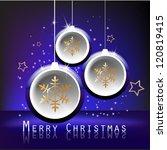 three blue christmas balls on...   Shutterstock .eps vector #120819415