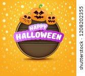 happy halloween web wooden... | Shutterstock .eps vector #1208202355