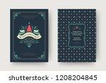 christmas greeting card design... | Shutterstock .eps vector #1208204845