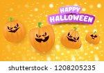 halloween horizontal web banner ... | Shutterstock .eps vector #1208205235