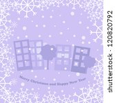 christmas card with town | Shutterstock .eps vector #120820792