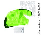 green brush stroke and texture. ... | Shutterstock .eps vector #1208214538